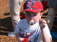 Nathan blowing bubbles
